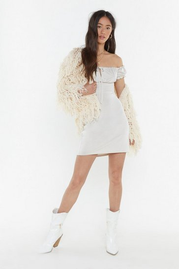 Womens Ivory Drift Off-the-Shoulder Mini Dress