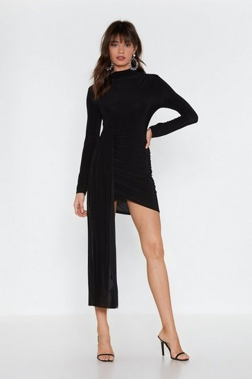 Black Drop the News Ruched Mini Dress