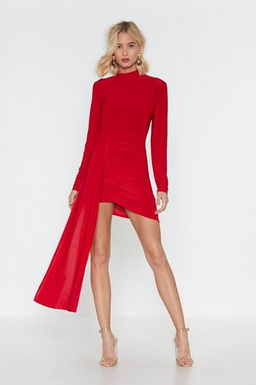 Red Drop the News Ruched Mini Dress