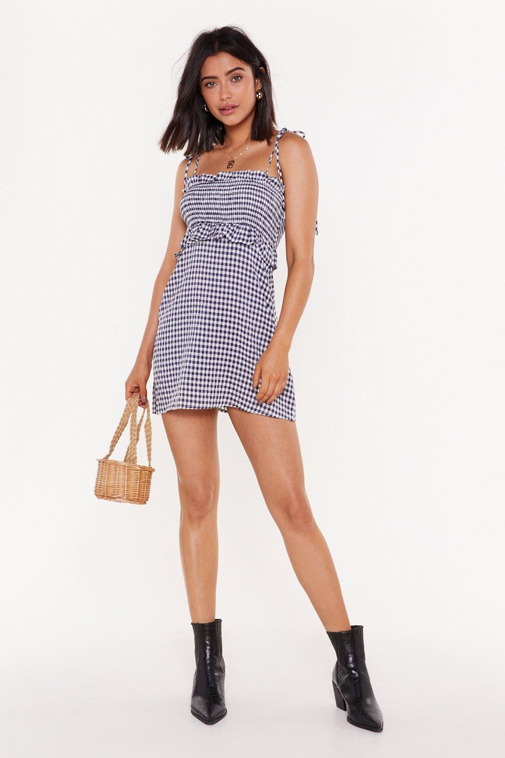 Check Your Self Gingham Ruched Mini Dress by Nasty Gal