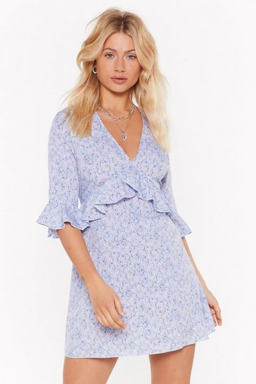 Womens Blue Frillin' It Floral Mini Dress