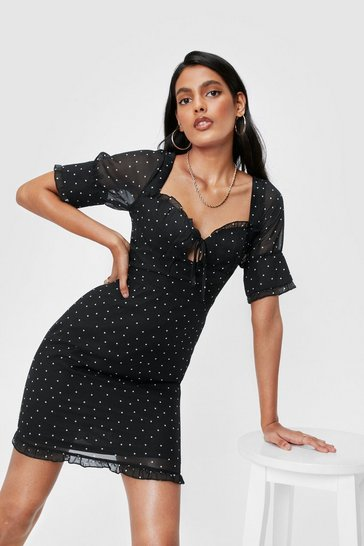 Black Polka Dot Sweetheart Neckline Dress