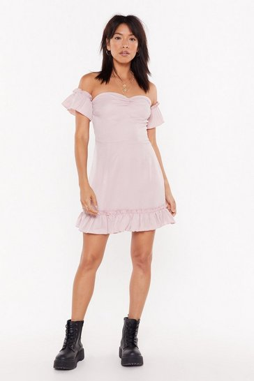 Womens Mauve Bardot Frill Ruched Mini Tea Dress