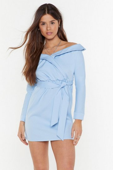 Womens Light blue Ready for Take Off-the-Shoulder Mini Dress