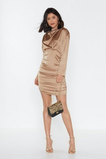Womens Nude I Get a Ruche Satin Mini Dress