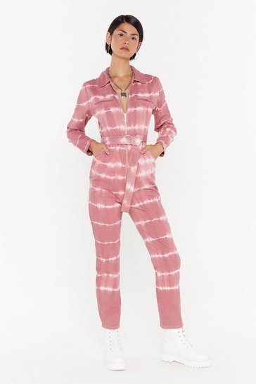 Womens Blush Good Vibes Only Denim Tie Dye Boilersuit