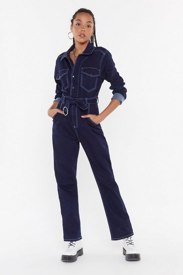 Womens Indigo A Total Stitchfest Denim Boilersuit