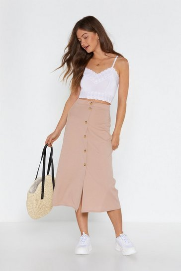 Sand Button Your Marks Midi Skirt
