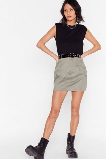 Khaki Camo Around Anytime Utility Mini Skirt