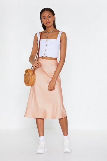 Womens Coral Just My Type Satin Midi Skirt