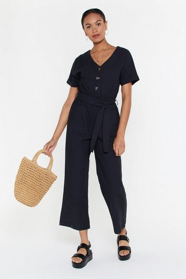Womens Black Safari Belted Jumpsuit