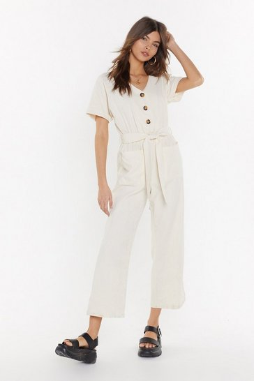Ecru Button Top of the World Cropped Belted Jumpsuit