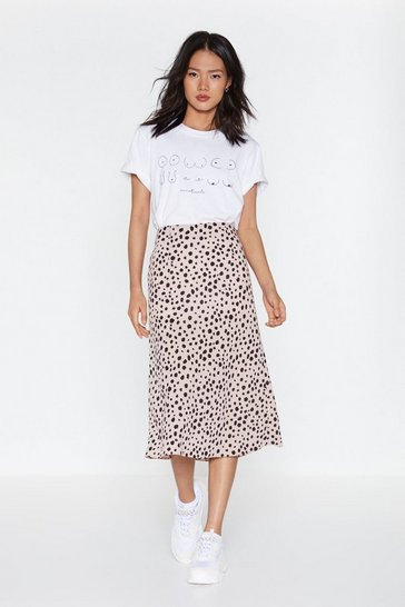Mauve Get the Upper Hound Dalmatian Midi Skirt