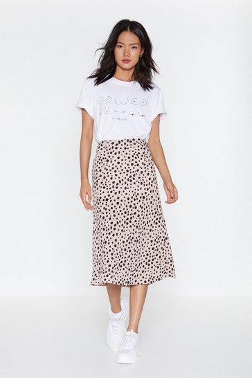 Mauve Get the Upper Hound Dalmatian Midi Skirt