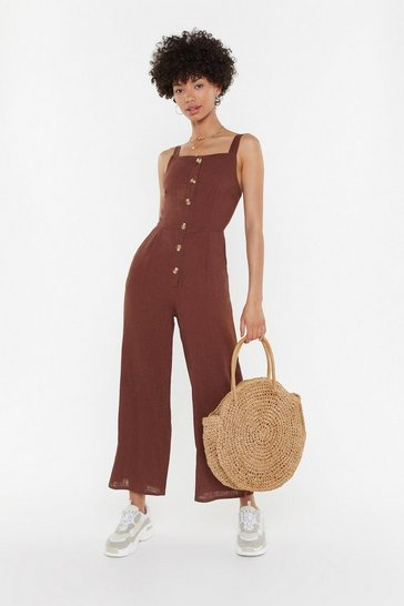 Womens Chocolate Linen Button Down Strappy Jumpsuit
