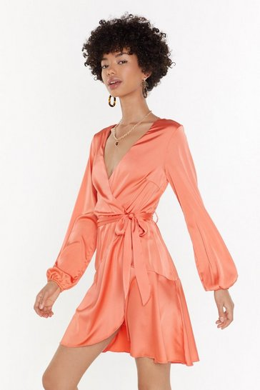 Womens Coral Satin Wrap Plunge Mini Dress
