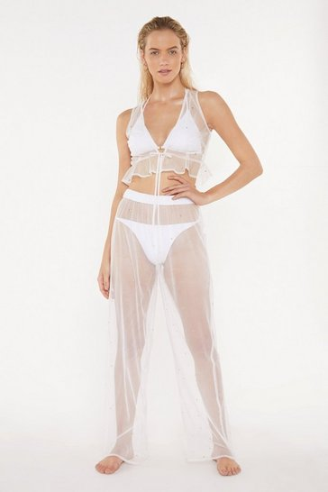 Cream Wishing on a Star Studded Sheer Crop Top and Pants Set