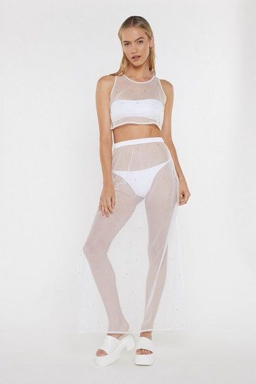 Womens Cream Wishing on a Star Studded Sheer Crop Top and Maxi Skirt Set