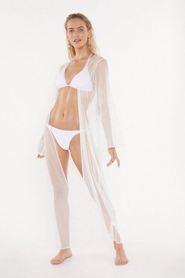 Womens Cream Wishing on a Star Studded Kimono Cover-Up