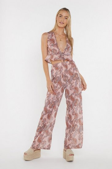 Womens Pink Have I Told You Paisley Crop Top and Wide-Leg Trousers Set