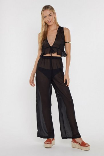 Womens Black Crop Top & Wide Leg Trouser Beach Set
