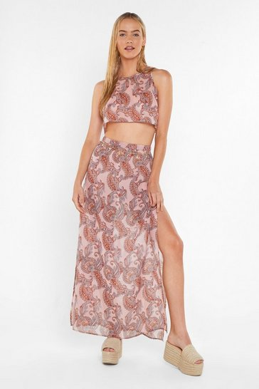Womens Pink Have I Told You Paisley Cover-Up Crop Top and Skirt Set