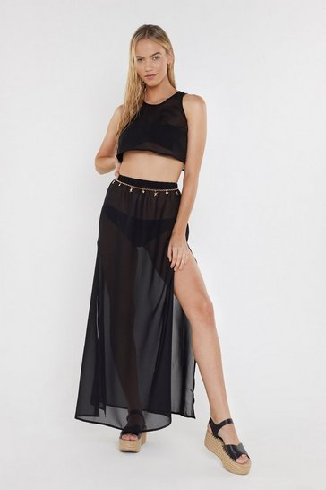 Womens Black Beach Don't Kill My Vibe Crop Top and Skirt Cover-Up Set