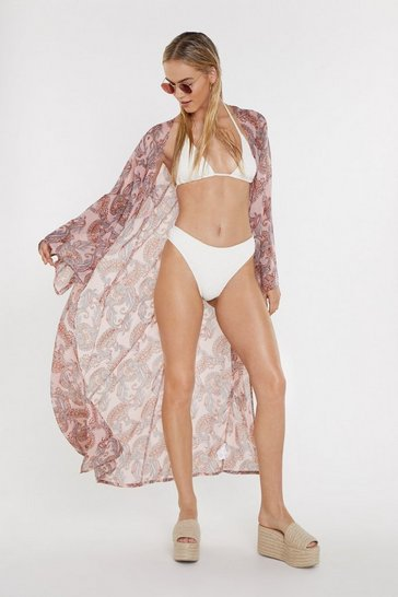 Womens Pink Why Paisley Bills Cover-Up Kimono