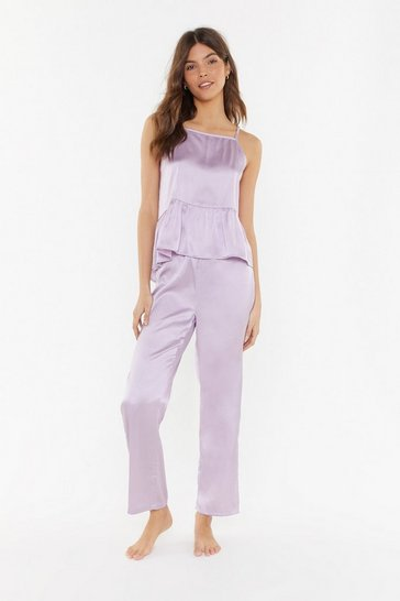 Womens Lilac Smooth Me to Sleep Satin Pajama Set