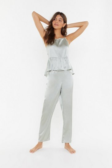 Womens Sage Satin Layered Cami & Trouser PJ Set