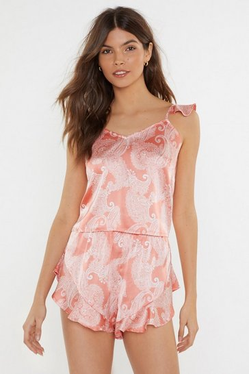 Womens Coral Feeling Slazy Satin Paisley Short Pajama Set