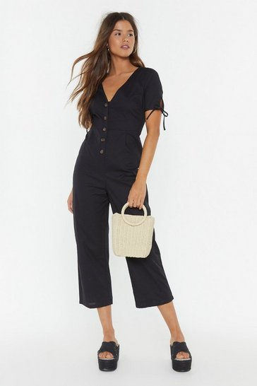 Womens Black Button-Down to Earth Linen Jumpsuit