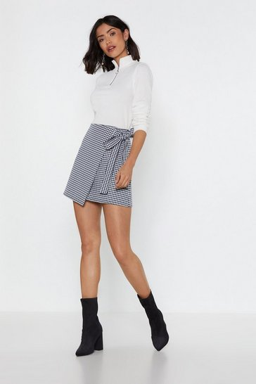 Womens Black Love Will Square Us Apart Gingham Wrap Skirt