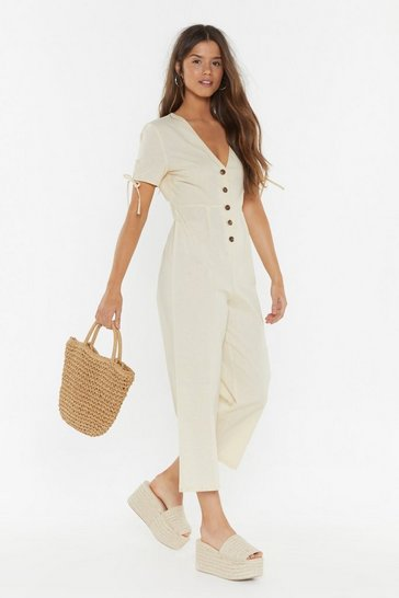 Sand Linen Button Down Jumpsuit