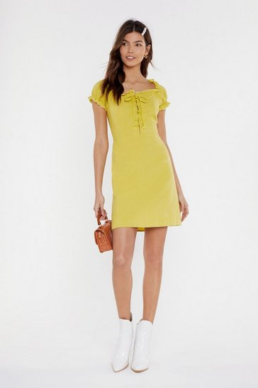 Womens Lime Tongue-Tied Lace-Up Mini Dress