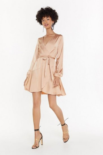 Womens Champagne Satin Wrap Plunge Mini Dress
