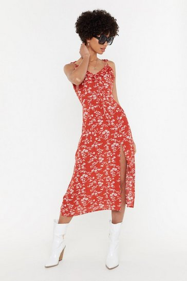 Womens Orange Just Leaf Floral Midi Dress
