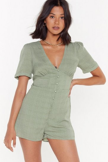 Womens Sage To Dot It Off Button-Down Romper