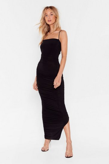 Black Only Fools Ruche In Midi Dress