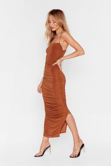 Womens Cinnamon Only Fools Ruche In Midi Dress