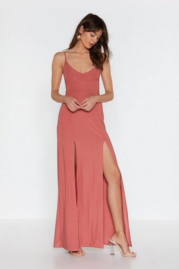 Womens Antique rose Go to Great Lengths Slit Maxi Dress