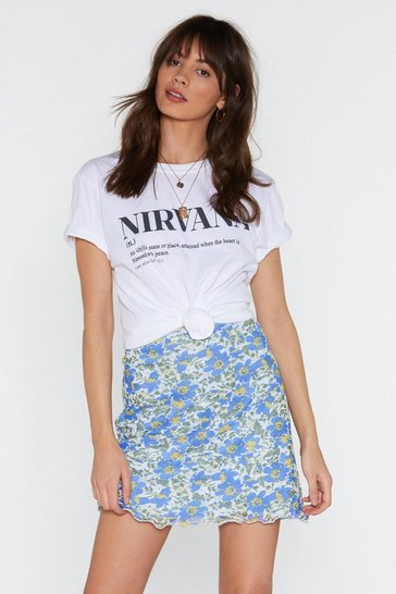Womens Blue Let Love Grow Floral Mini Skirt
