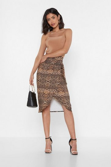 Womens Brown In a While Crocodile Wrap Midi Skirt