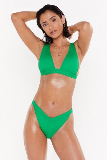 Womens Green Recycled Fresh Start Plunging Bikini Top