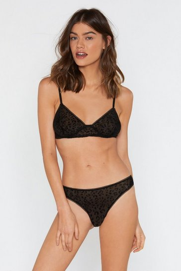 Womens Black Kitty Cat Purr Velvet Leopard Bralette and Panty Set