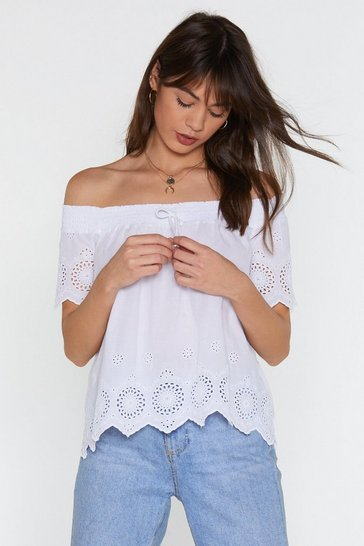 Womens White Broderie Bardot Top