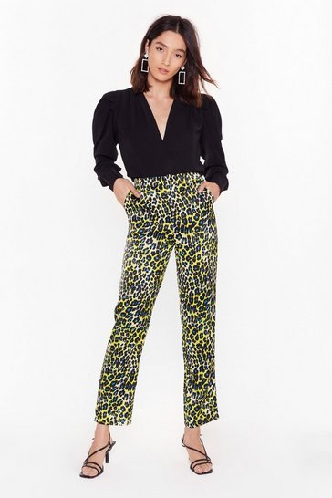 Neon-yellow Fangs a Lot Snake Relaxed Trousers