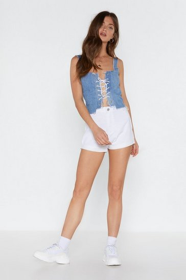 Womens White In the Fold Denim Shorts