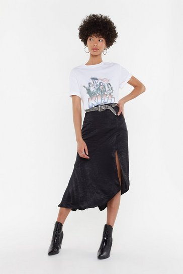 Black Worried Slick Satin Midi Skirt