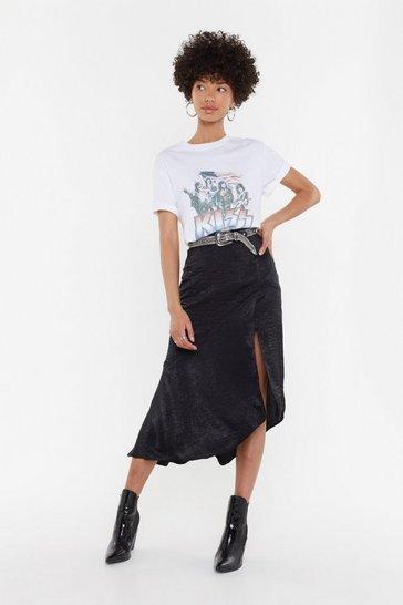 Black Worried Slick Satin Midi Skirt